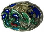 Dragon and Castle Belt Buckle with display stand. Code BF4